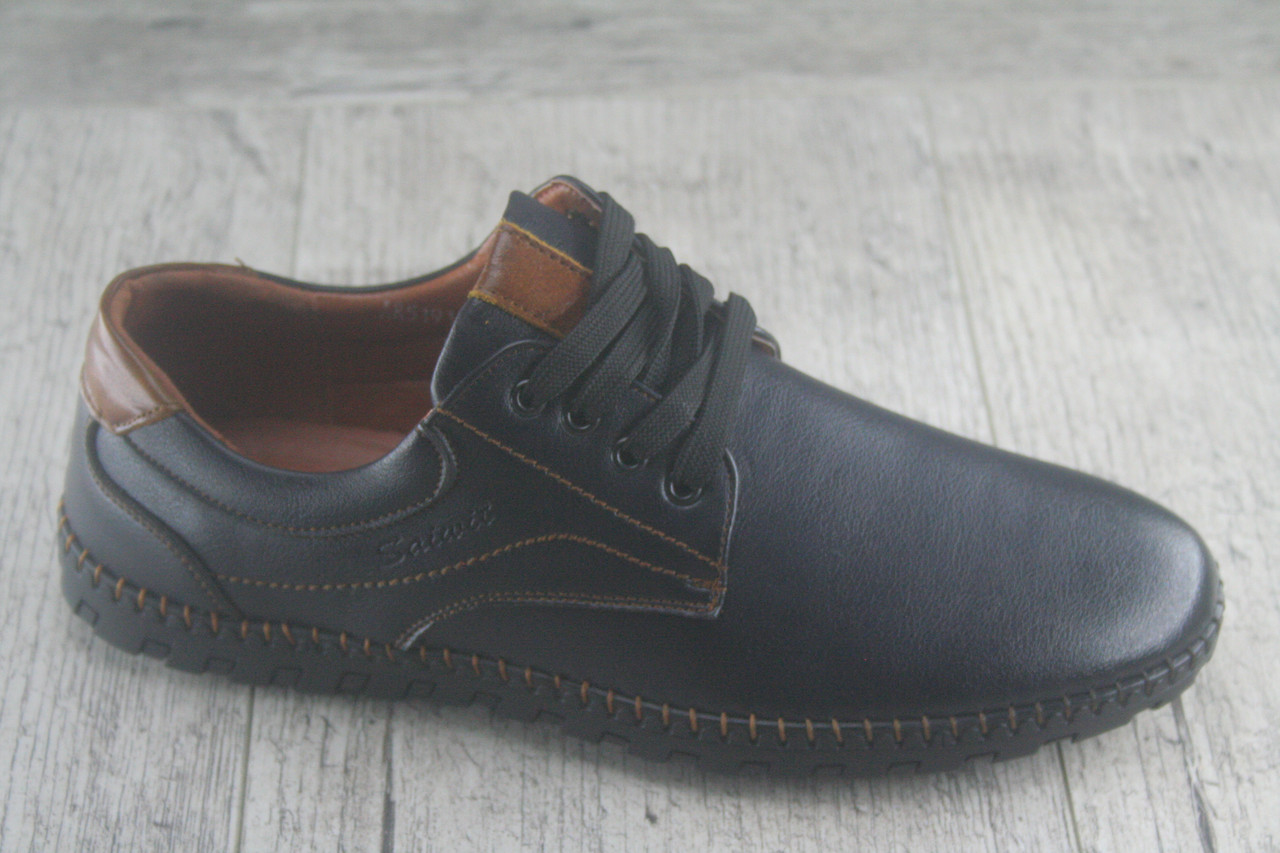 Туфли, мокасины на шнурках Holoso, обувь мужская осенняя, повседневная их эко кожи