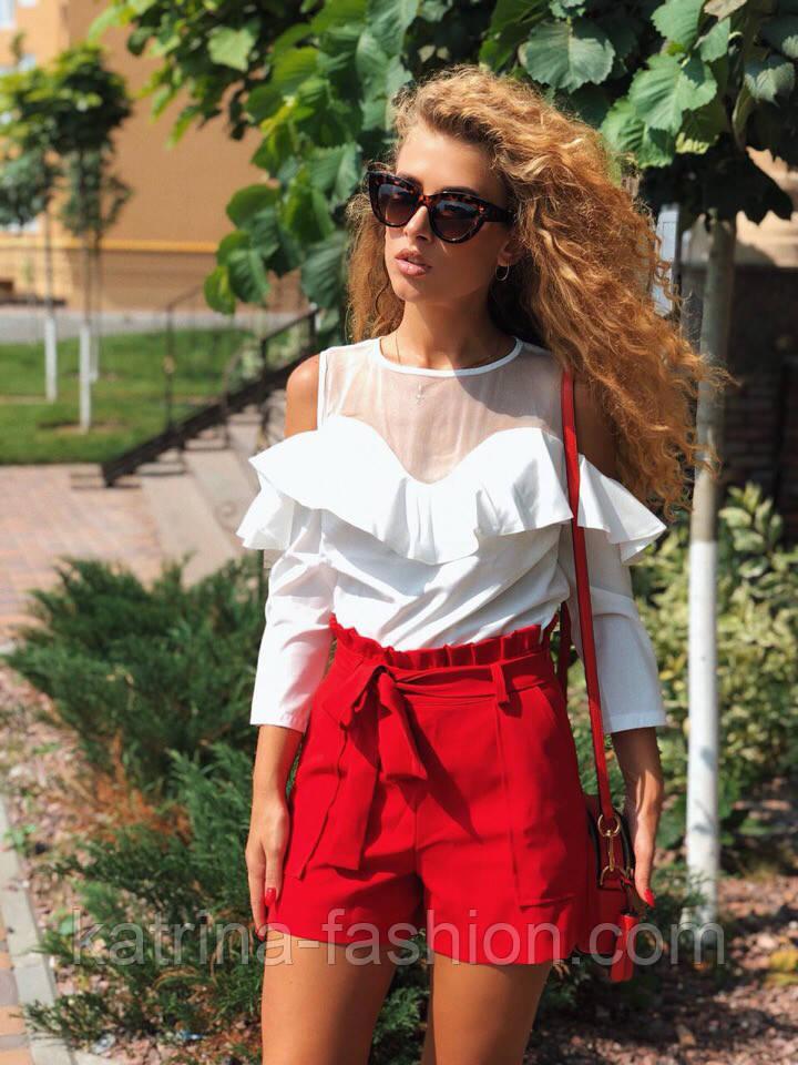 Женские модные красные шорты с высокой посадкой