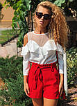 Женские модные красные шорты с высокой посадкой, фото 2