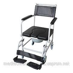 Кресло-каталка с санитарным оборудованием, откидными подлокотниками и колесами Ridni KJT707C