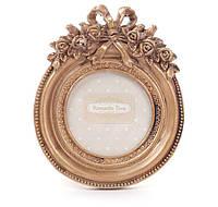 Красивая Фоторамка настольная круглая 13.5см из искусственного камня Барокко, золото антик