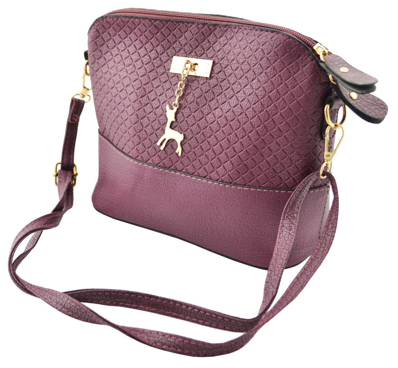 Женская сумка через плечо Бемби темно-вышневый