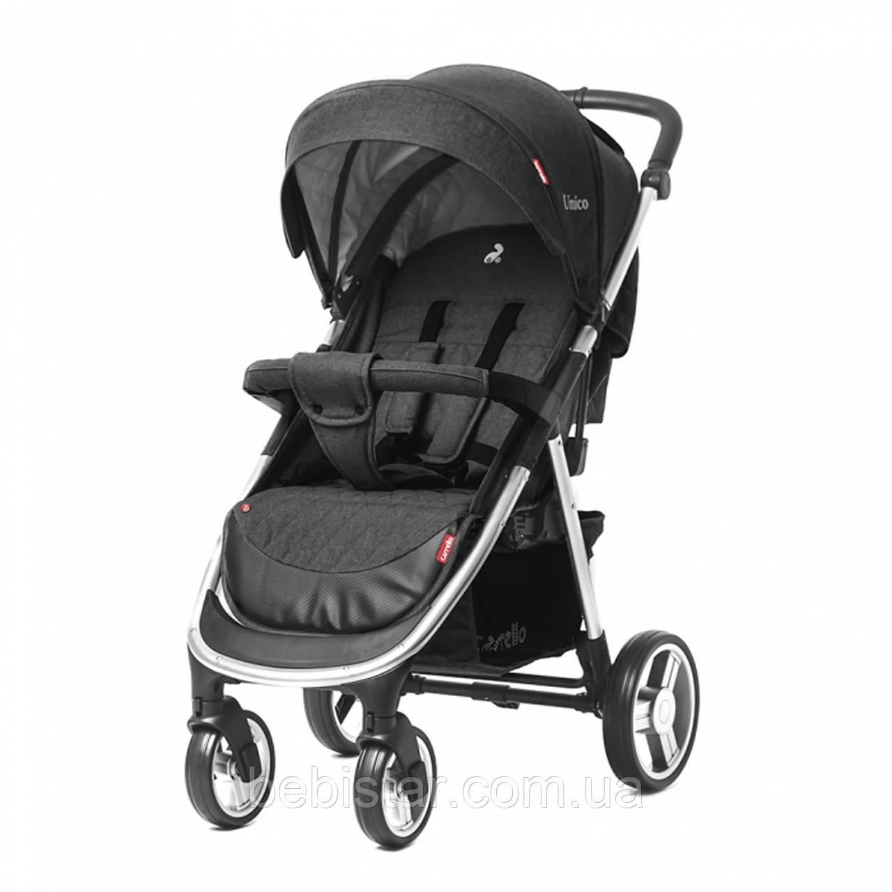 Детская прогулочная коляска цвет темно-серый CARRELLO Unico CRL-8507 Frost Gray с дождевиком
