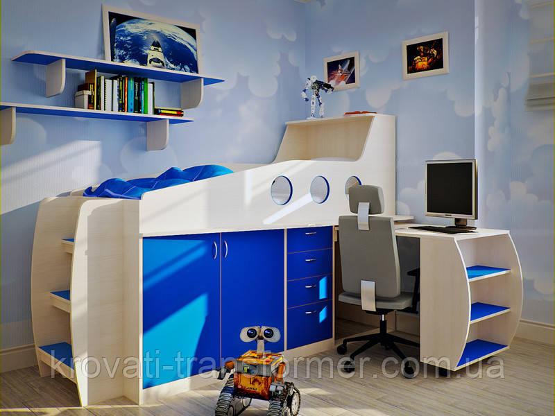 """Кровать чердак """"FLY"""" Премиум молочный дуб+синий"""
