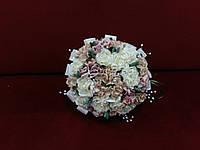 Свадебный букет-дублер из роз пудровый с айвори