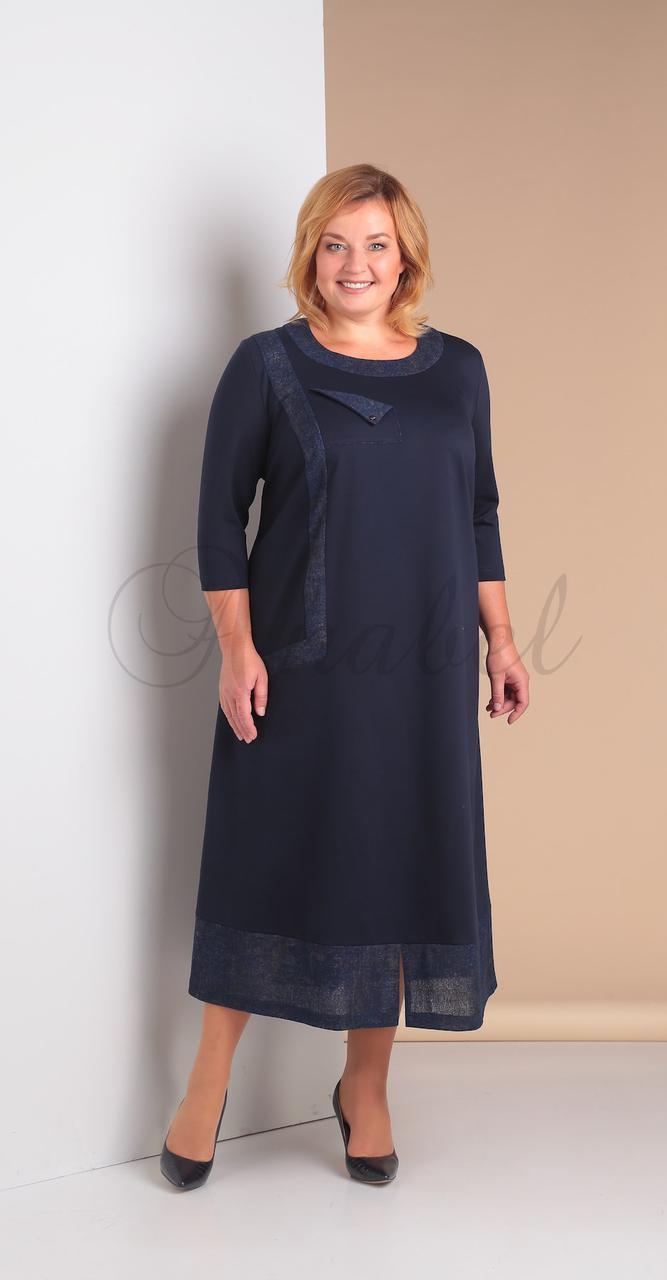 Платье Novella Sharm-3052 белорусский трикотаж, темно-синий, 62