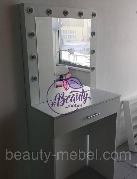Гримерный столик с парой отделений для косметики, стол для макияжа с зеркалом и лампами