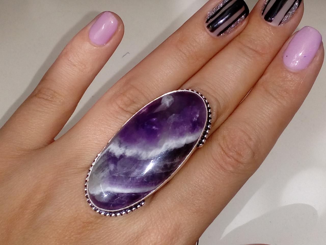 Аметист шеврон кольцо с натуральным аметистом в серебре 18.5 размер Индия