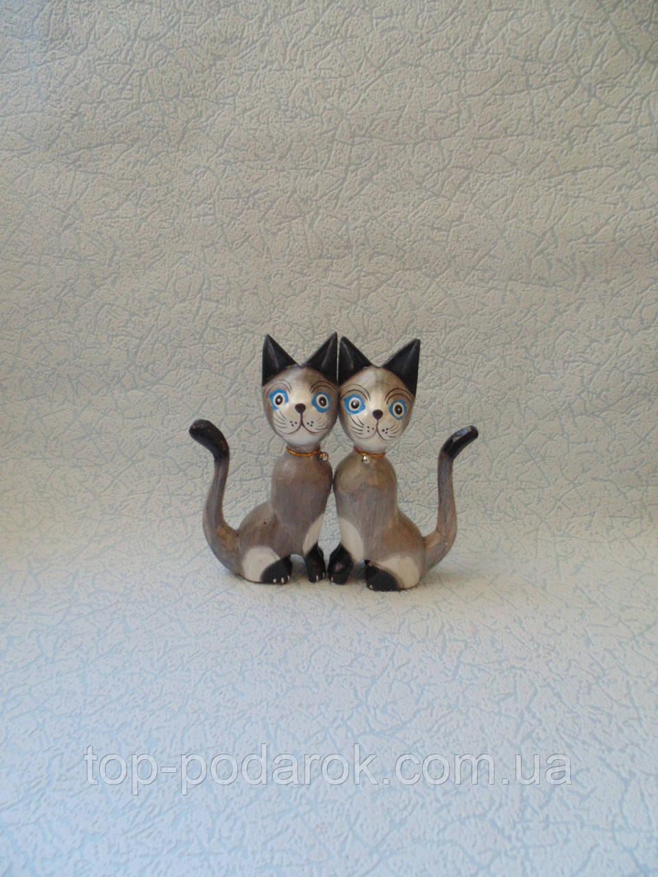 Пара котов деревянных высота 15 см