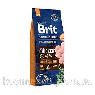 Сухой корм Брит Премиум (Brit Premium Senior S+M) для стареющих собак мелких и средних пород, 15 кг
