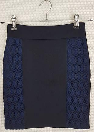 Школьная юбка карандаш  с гипюром темно-синяя  р 140-164, фото 2