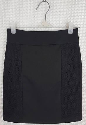 Школьная юбка карандаш  с гипюром черная р 140-164, фото 2