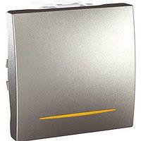 Выключатель проходной 1-клавишный, 2-модульный с индикацией Unica, алюминий
