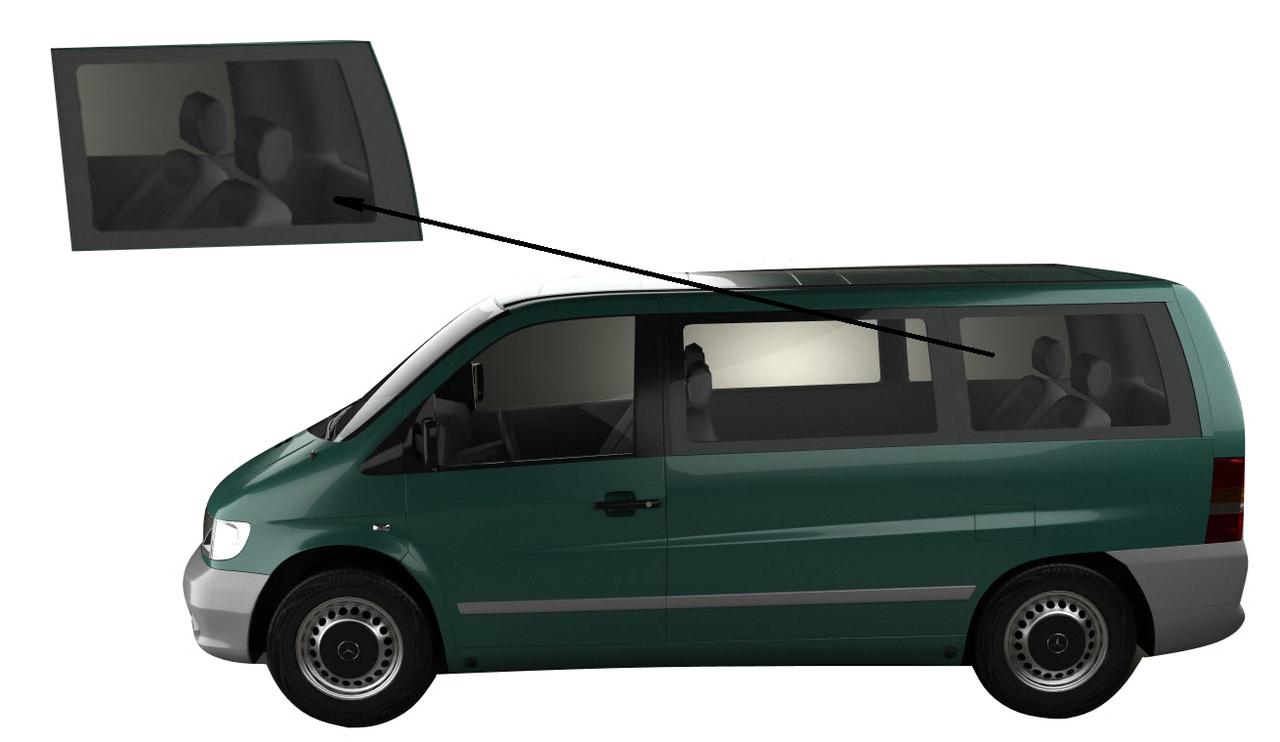 Бічне скло Mercedes Viano 1996-2003 заднє ліве