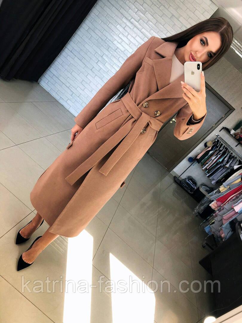 Женское кашемировое пальто с поясом (2 цвета)