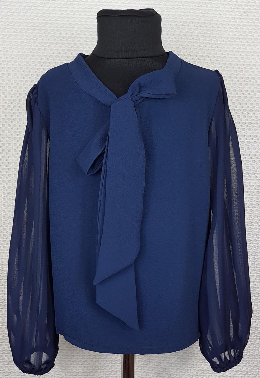 Блузка с длинным рукавом Бант  р.128-152 темно-синяя