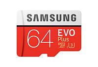 Карта памяти Samsung EVO Plus microSDXC UHS-I 64GB сlass10 +SD адаптер (MB-MC64GA/RU), фото 1