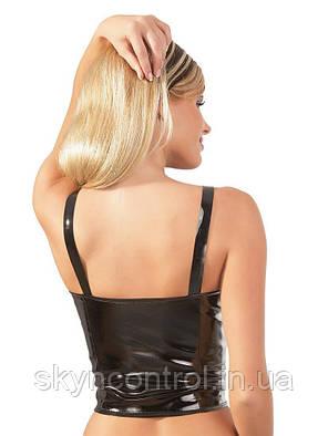 Эротический виниловый топ черный Black Level XL, фото 2