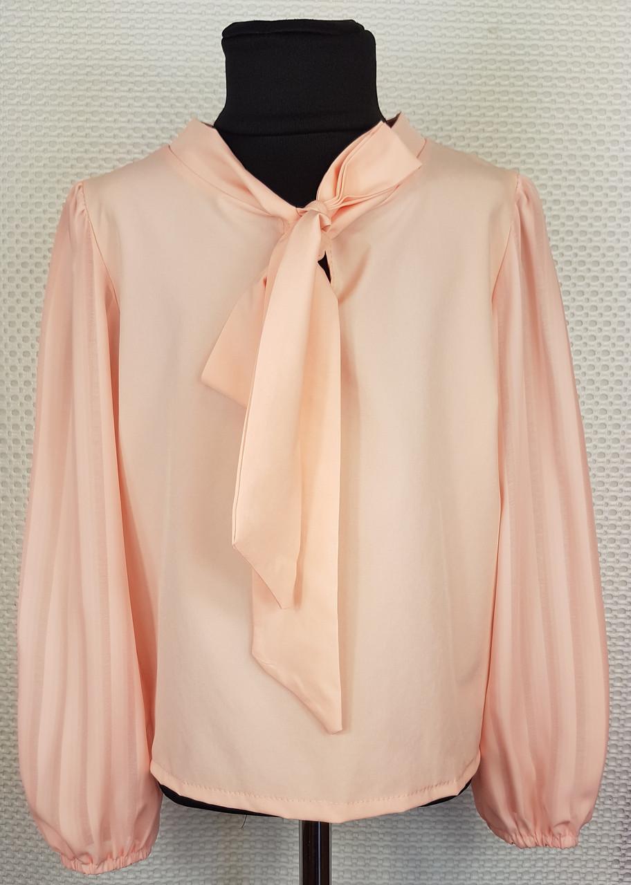 Блузка с длинным рукавом Бант  р.128-152 персик