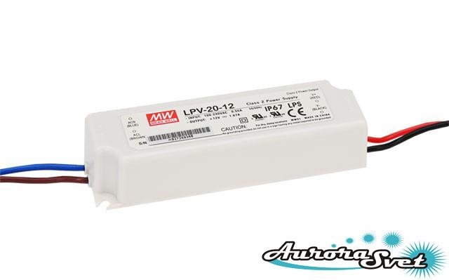 Led драйвер LPV-20-12 / 20-220AC-12S-118.0x35.0x26.0-LED DRIVER. Драйвер светодиода MEANWELL IP68.