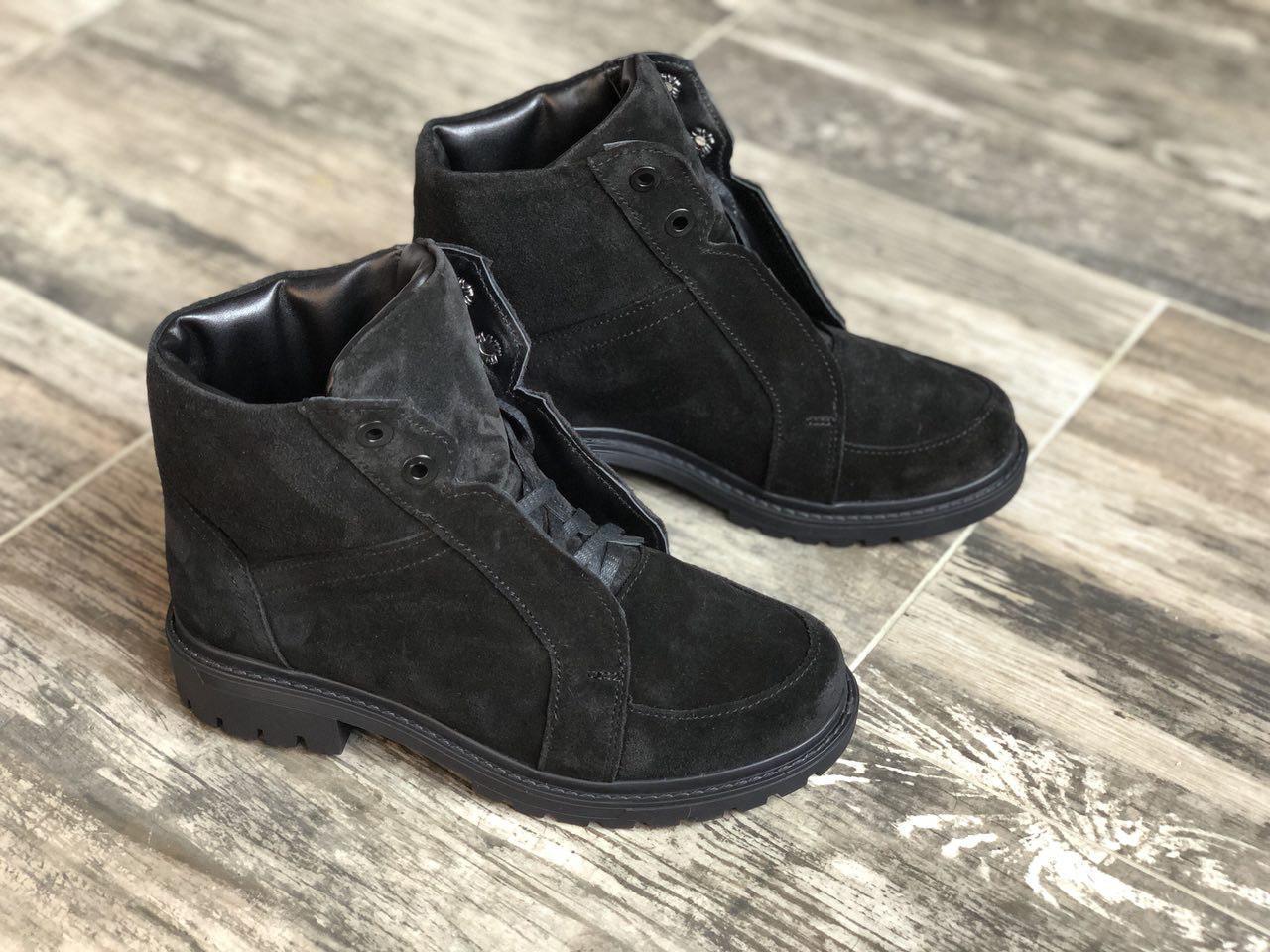 Ботинки из натуральной черной замши №566-3  (астра 12 черн)
