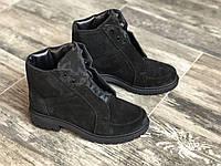 Ботинки из натуральной черной замши №566-3  (астра 12 черн), фото 1
