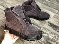Ботинки из натуральной серо-лиловой замши №566-4  (ш черн), фото 1
