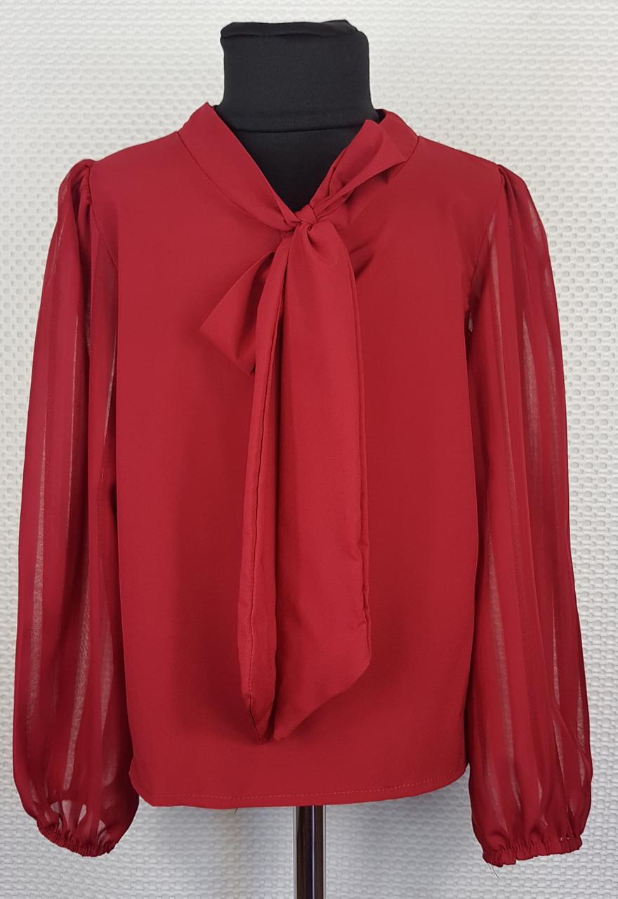 Блузка с длинным рукавом Бант  р.128-152 бордовый