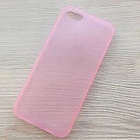 Розовый ультратонкий матовый силиконовый чехол iphone 5/5S в упаковке