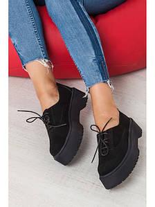 Женские туфли из натуральной замши черного цвета на небольшой платформе DOKTOR BLACK SUEDE