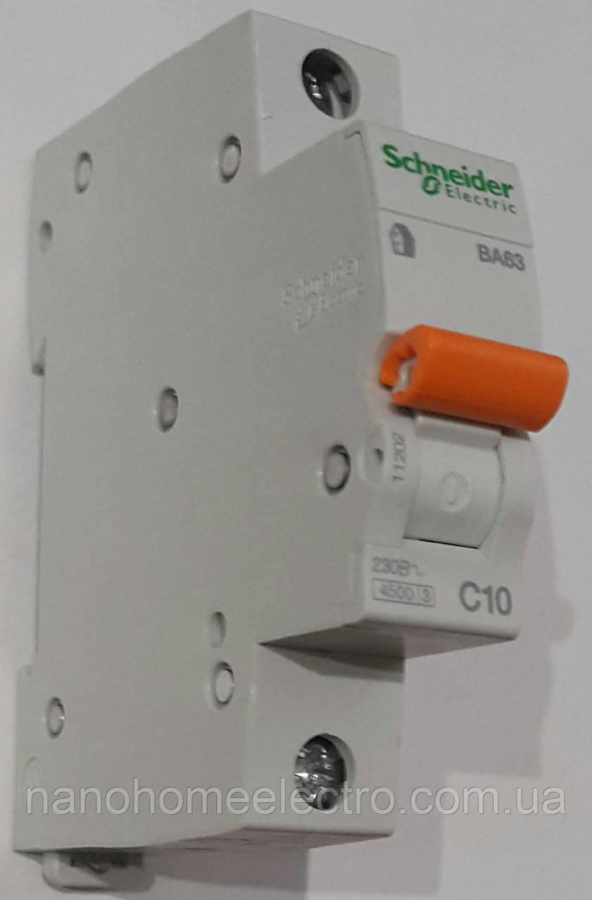 Выключатель автоматический ВА63 1п10 A 220/4000 Schneider