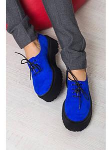 Женские туфли из натуральной замши синего цвета на небольшой платформе DOKTOR ELEKTRIC LEATHER