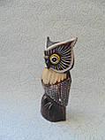 Статуэтка деревянная сова высота 15 см, фото 3