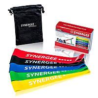 Комплект 5 шт ленточных эспандеров Mini Band Synergee (1-5 уровень, 2-22.5 кг, сумочка для хранения)