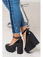 Женские туфли из натуральной кожи черного цвета на удобном толстом каблуке MARY JANE BLACK LEATHER