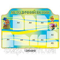 Информационный стенд Методический вестник (желто-голубой, книги)