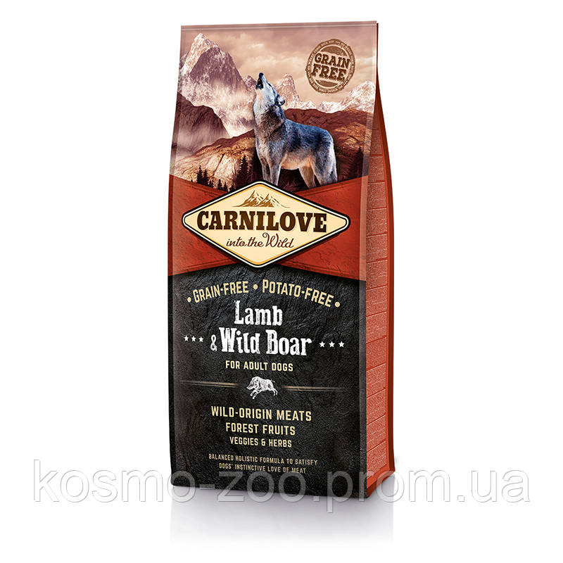 Сухой корм Карнилав (Carnilove Adult Lamb&WildBoar) с ягненком и диким кабаном, 12 кг