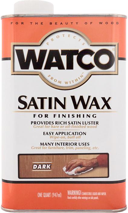 Воск для дерева и мебели Watco satin wax, темный (Dark), 0,946 л