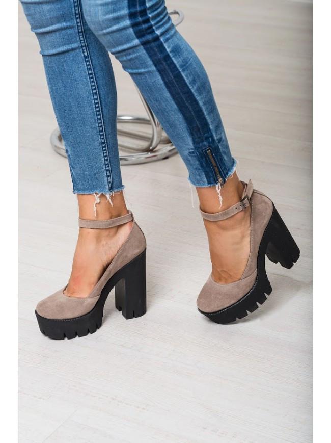 20f6f3ee8 Женские туфли из натуральной замши коричневого цвета на удобном толстом  каблуке MARY JANE SHORE SUEDE -