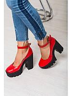 Женские туфли из натуральной кожи красного цвета на удобном толстом каблуке MARY JANE RED LEATHER