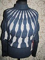 """Теплая оригинальная кофта с рукавом """"летучая мышь"""", синяя, фото 1"""