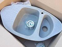 Серая угловая гранитная кухонная мойка 918*500 мм AVANTI Каролина