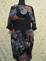 """Платье женское с напылением """"под велюр"""",  цветочный принт. Турция, 48р."""