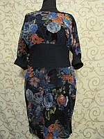 """Платье женское с напылением """"под велюр"""",  цветочный принт. Турция, 48р., фото 1"""