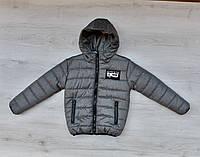 Куртка демисезонная серая на мальчика 116 (6 лет), 134 ( 8 лет)