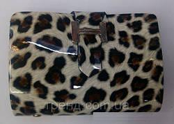 Лаковая леопардовая визитница HERMES