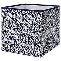 ✅ IKEA DRONA (102.819.57) Ящик-Коробка синий, белый цветочный узор