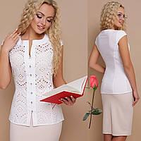 f384e9a0586 Белая летняя блузка из прошвы без рукавов Gl ФЛОРИ  продажа