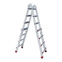 Лестница алюминиевая универсальная раскладная телескопическая 4x4 ступ. 4,20 м INTERTOOL LT-2044, фото 1