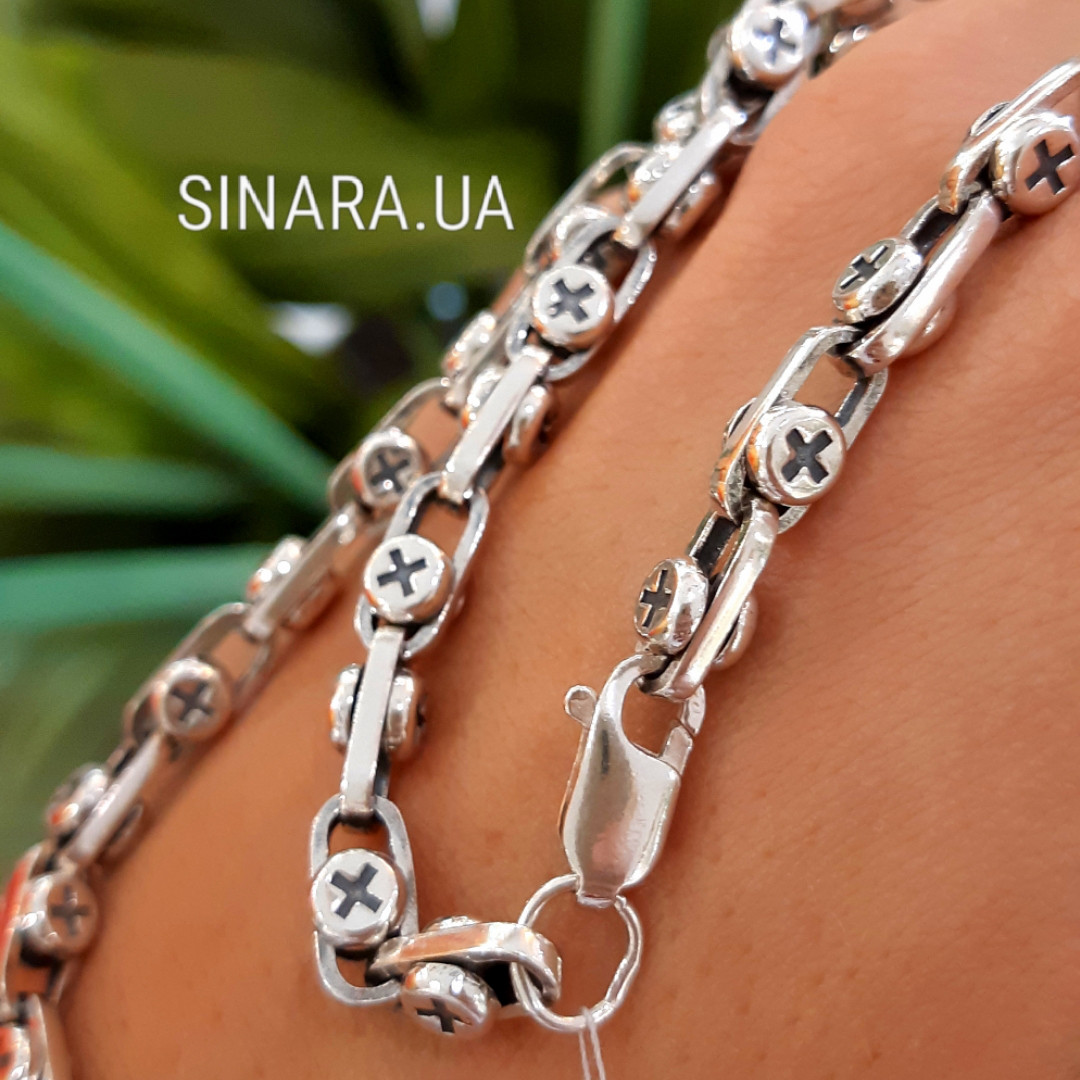 Серебряная цепочка Барака с винтами - Мужская цепочка Baraka серебро 925
